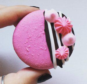 Pink striped macaron